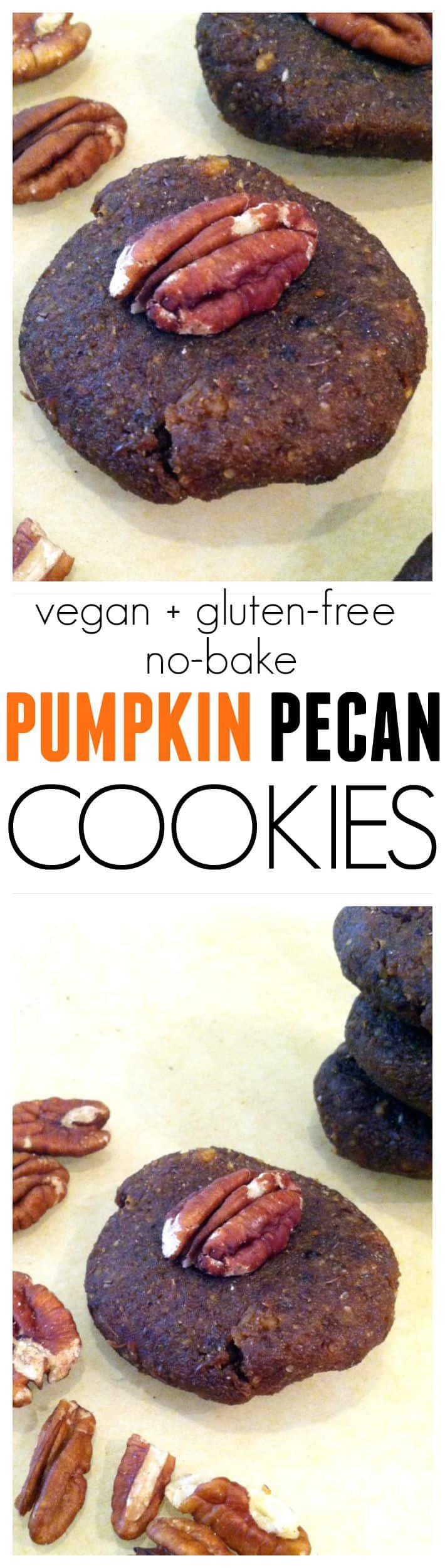 No-Bake Pumpkin Pecan Cookies…super easy, gluten-free, vegan, kid-friendly, no added sugar. Hummusapien.com