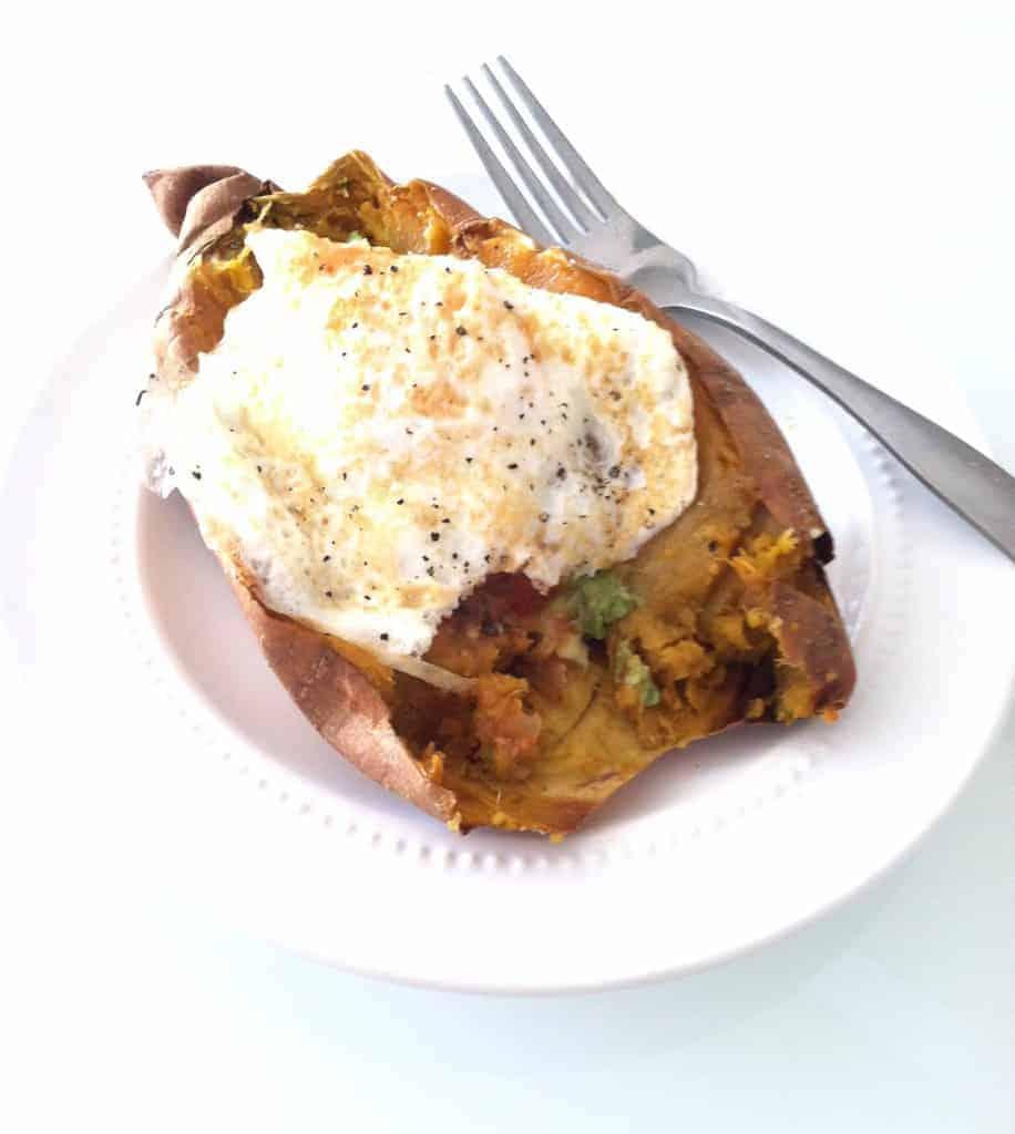 Baked Sweet Potato with Salsa, Avocado & Fried Egg   Hummusapien