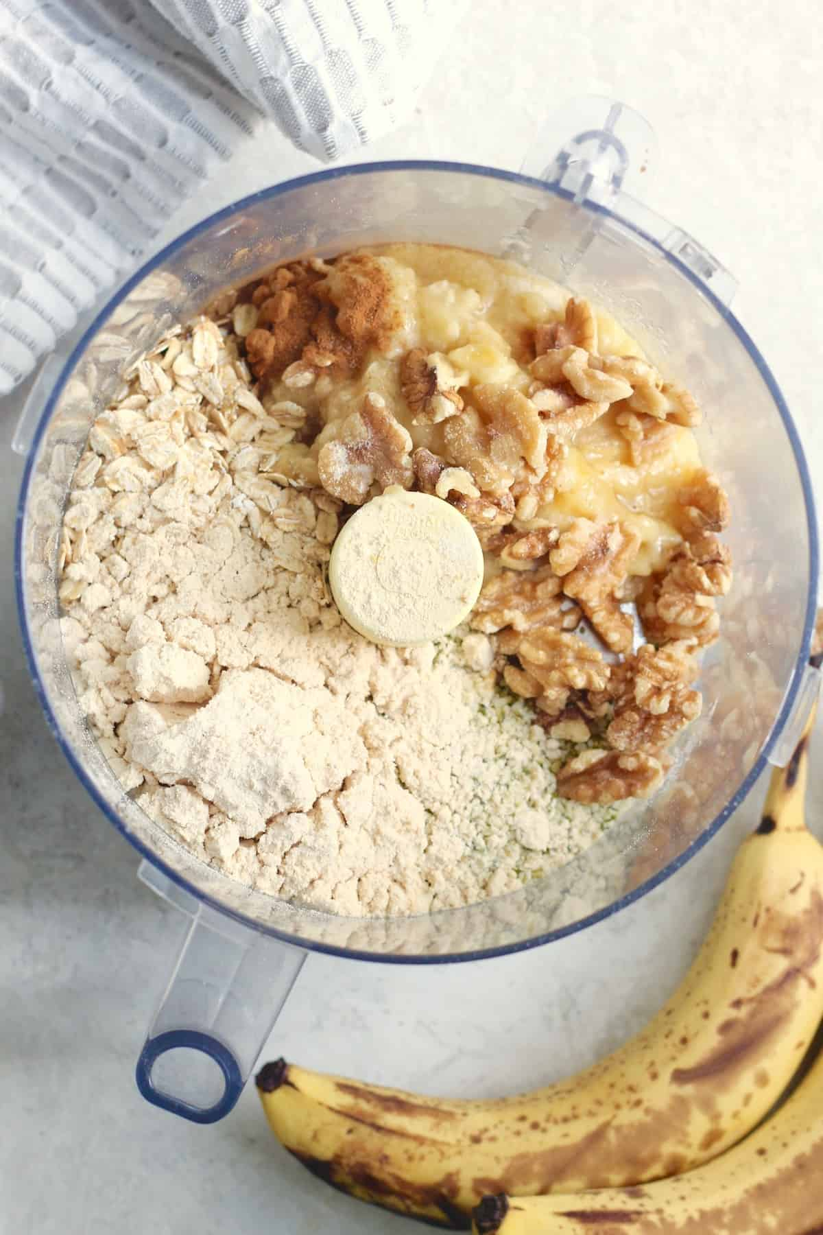 food processor with banana bread ingredients