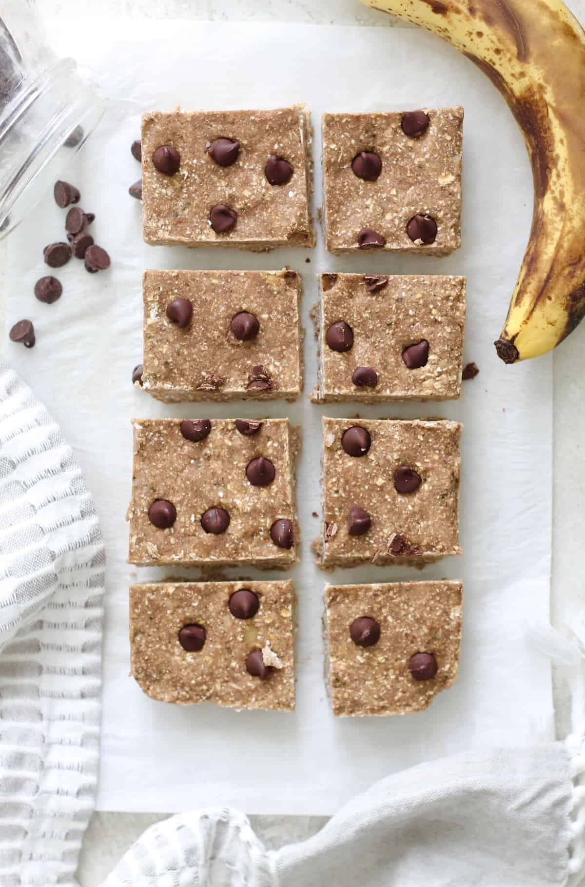 sliced banana protein bars with chocolate chips