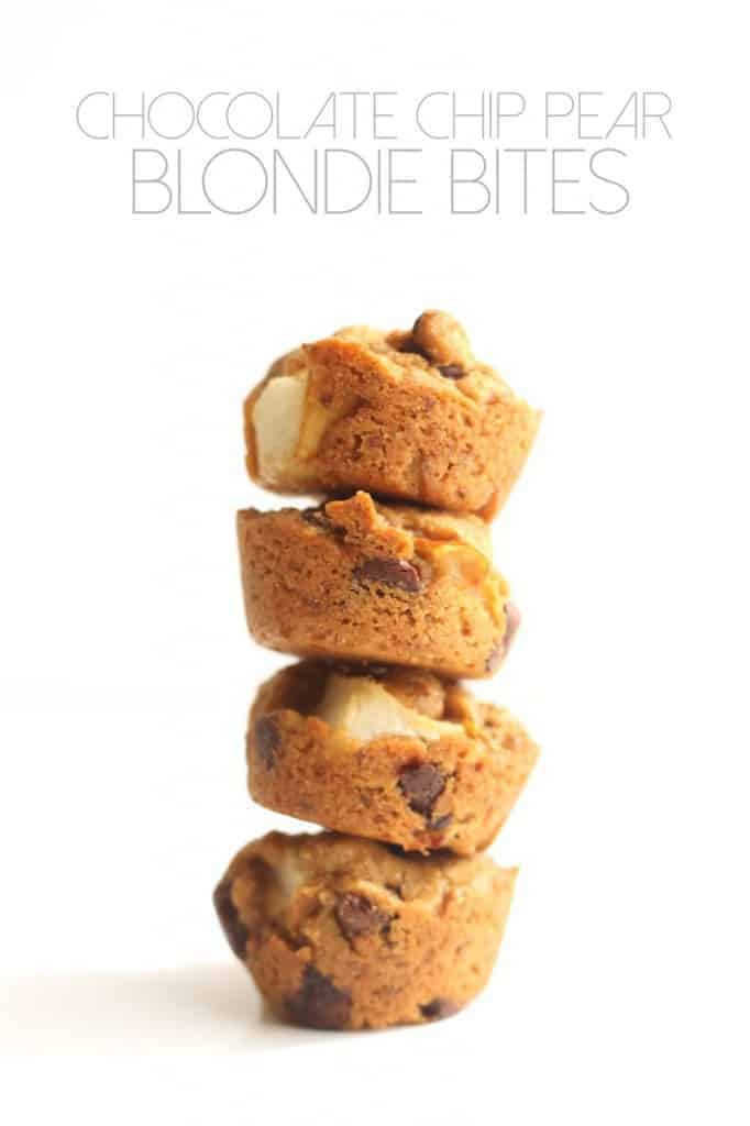 You'd never guess these were vegan and 100% whole grain! Chocolate Chip Pear Blondie Bites