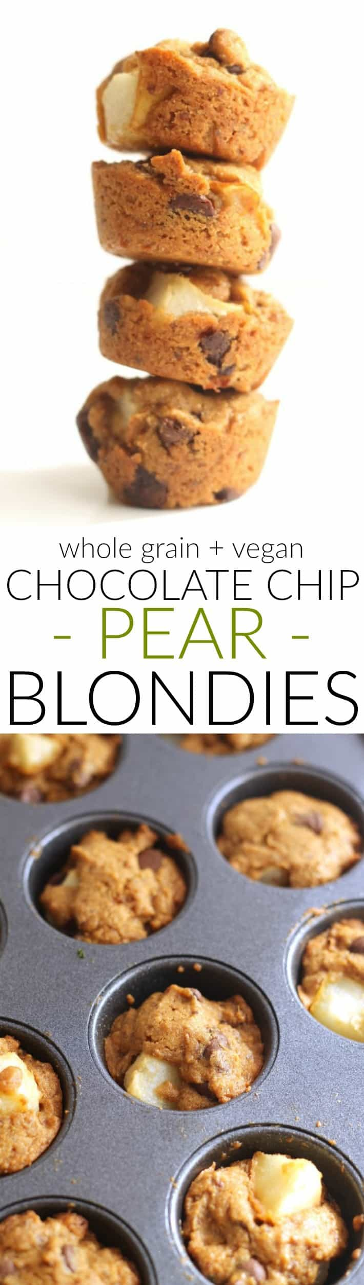These vegan, whole grain Chocolate Chip Pear Blondie Bites are the perfect dessert to satisfy any sweet tooth!
