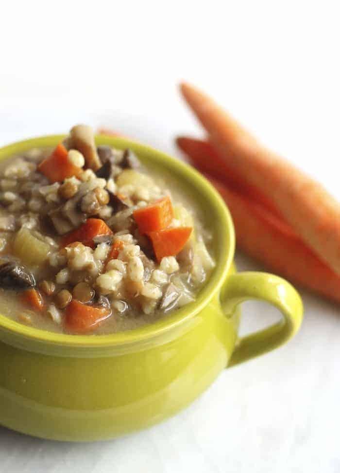 Crockpot Mushroom, Barley, & Lentil Soup
