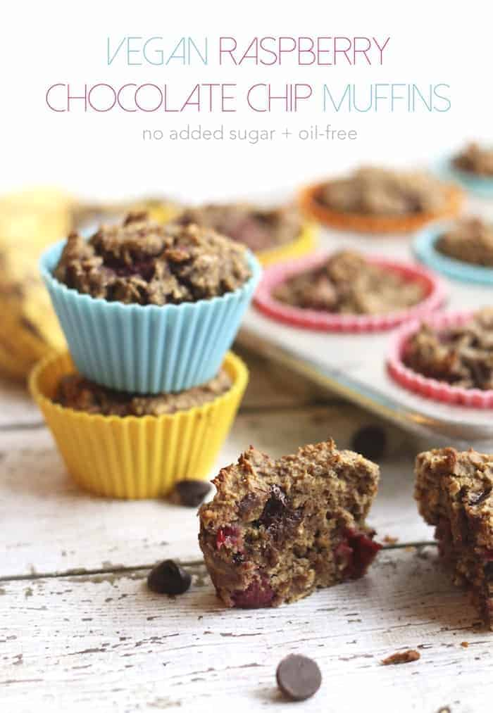 Vegan Raspberry Chocolate Chip Muffins (No Added Sugar, Oil-Free)