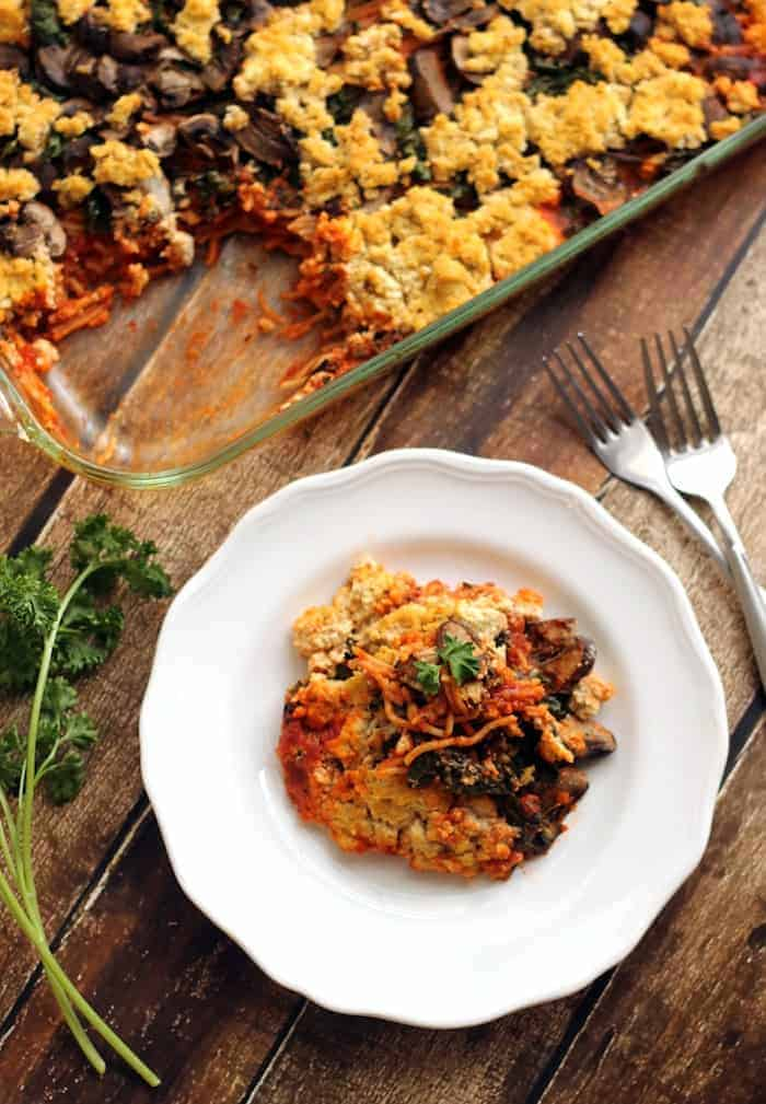 Baked Spaghetti with Kale, Mushrooms, and Tofu Ricotta