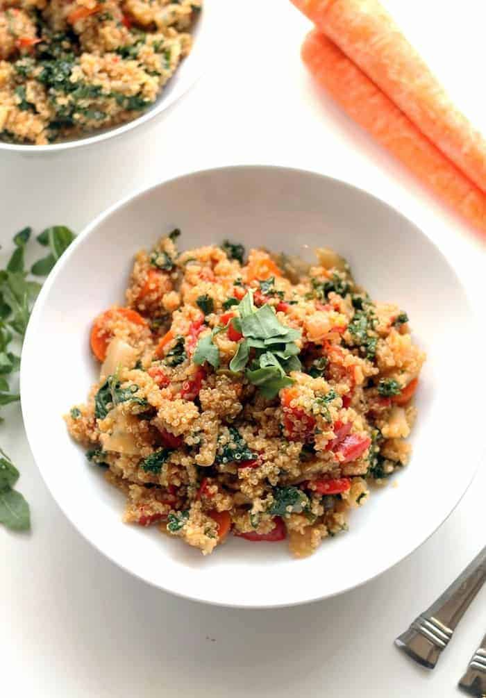 This quinoa fried rice has no rice. And no fried.