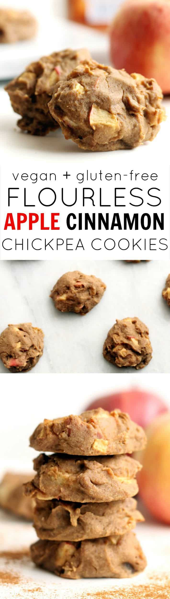 Flourless Apple Cinnamon Cookies are a super moist, lightluy sweetened, vegan, kid-friendly treat! No oil, flour, butter, or refined sugar.