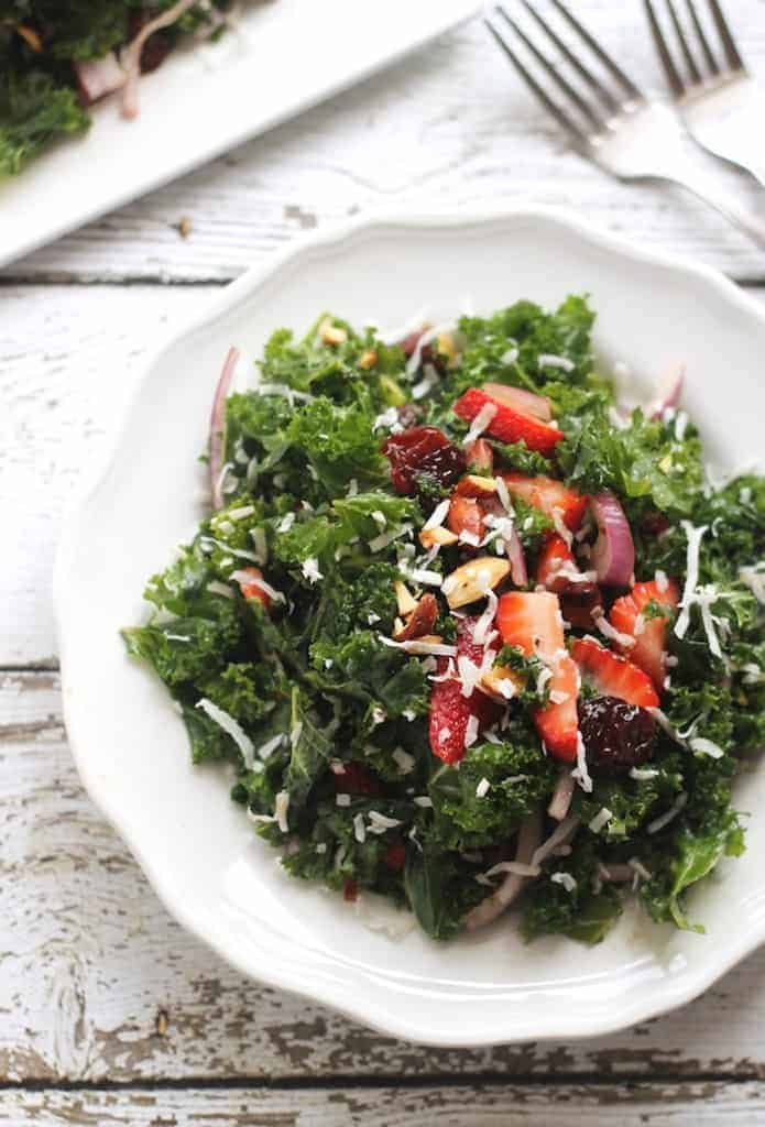 Strawberry Coconut Kale Salad
