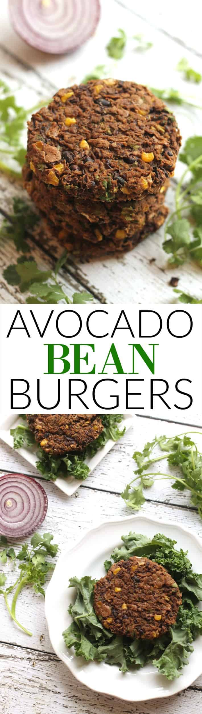 These Mexican-spiced Avocado Bean Burgers make the perfect quick lunch or dinner! They're packed with plant-based protein and fiber for a tasty and simple meatless meal. Vegan and gluten-free!