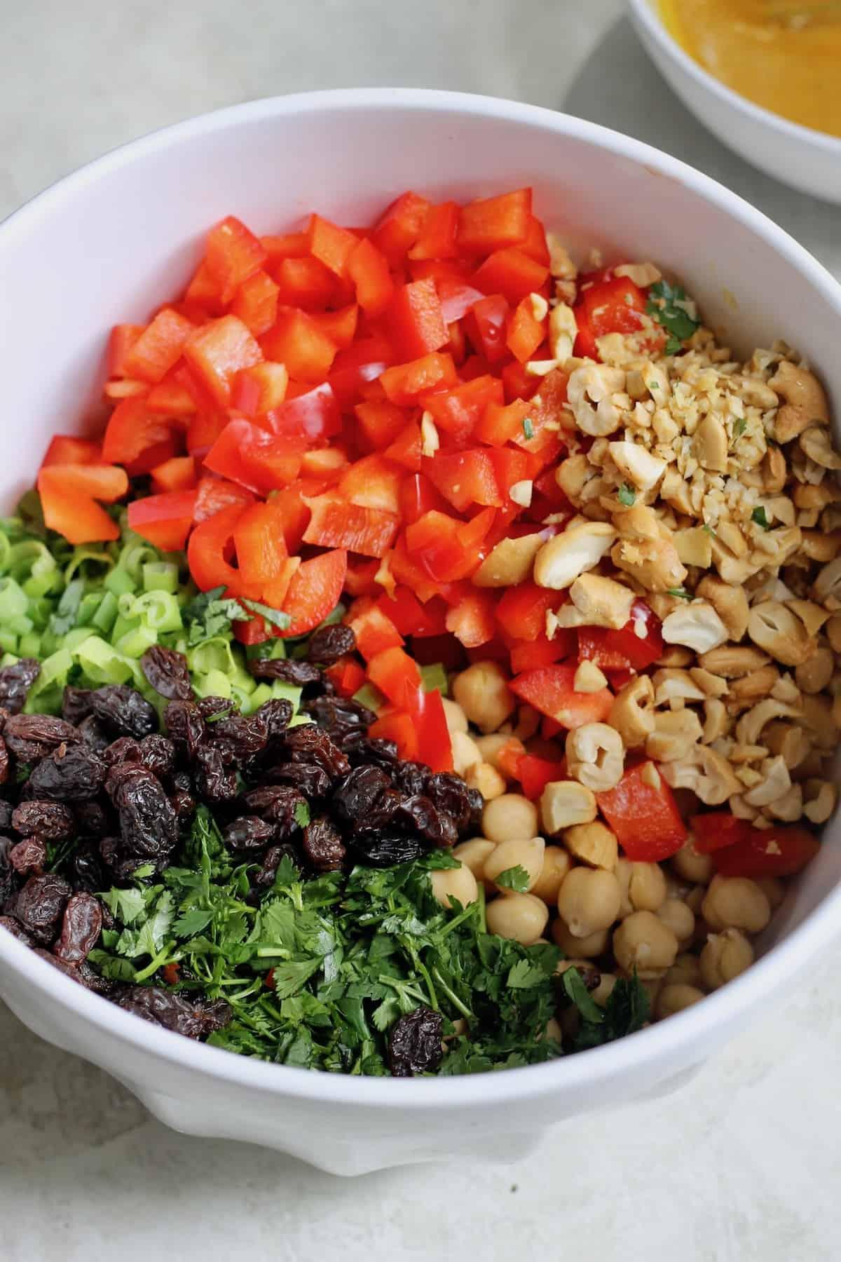 mixing bowl of salad ingredients