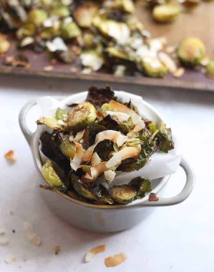 Peppered Brussels Sprouts with Toasted Coconut