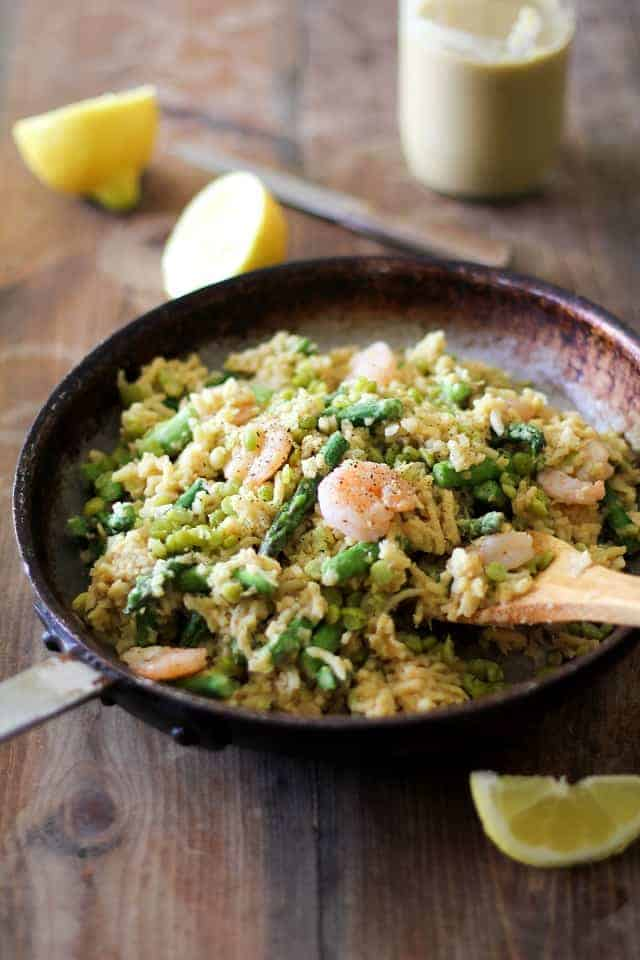 Parsnip_risotto_with_chickpea_alfredo_shrimp_asparagus_and_split_peas_1
