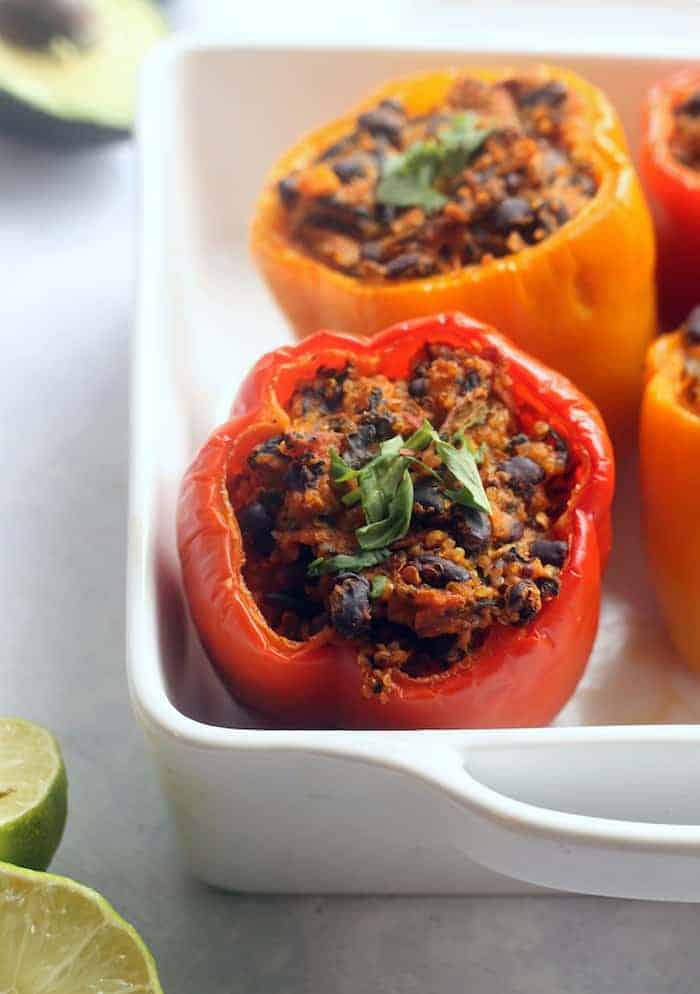 Vegan Enchilada Stuffed Peppers with Avocado Cream | www.hummusapien.com #vegan #glutenfree