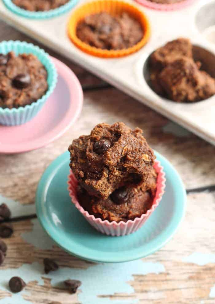 Snack or dessert, these super easy and moist 100% whole grain Vegan Mocha Chip Muffins are free of flour, butter, and refined sugar!