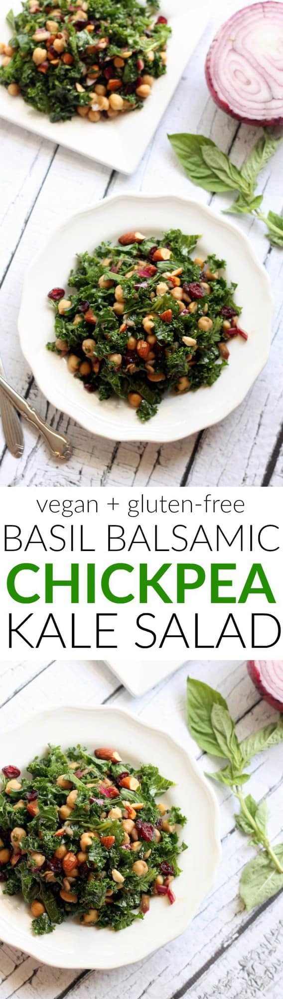 A quick, healthy, and flavorful kale salad with protein-packed chickpeas, fresh basil, and crunchy almonds. Perfect for a light summer dinner! Vegan and gluten-free!