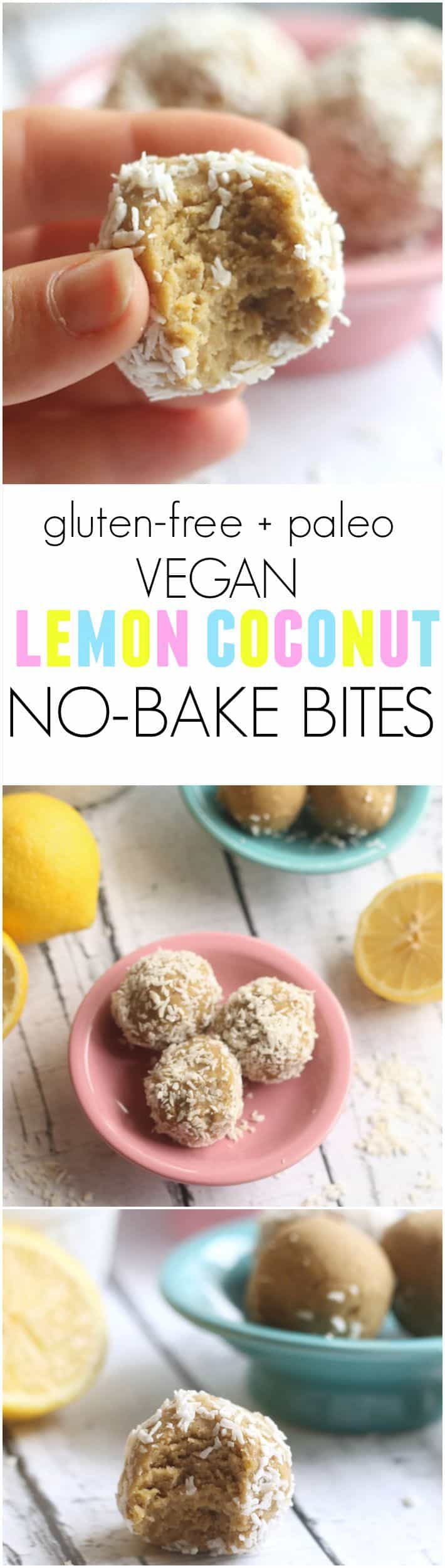 Lemon Coconut No-Bake Bites…these quick and easy treats taste like lemon cake! Made with coconut flour, they