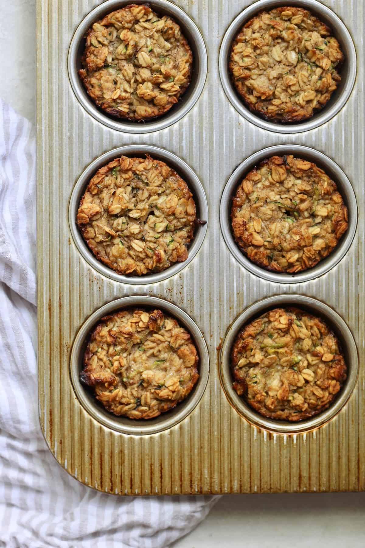 muffin tin of oatmeal cups