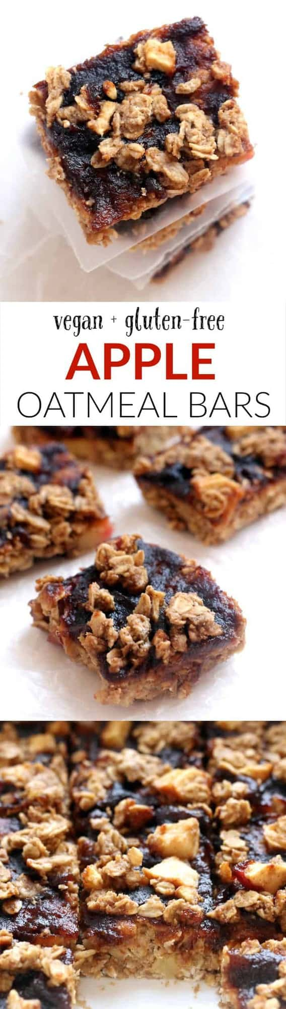 These wholesome, healthy, and delicious gluten-free apple oatmeal bars make the perfect fall treat.