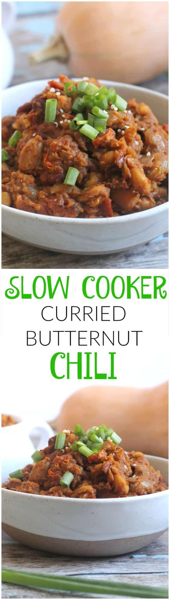 Slow Cooker Curried Butternut Chili is an easy, hearty, vegan weeknight meal!