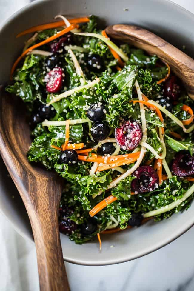 Rainbow+Kale+Salad+recipe+perfect+for+summer+-+Edible+Perspective