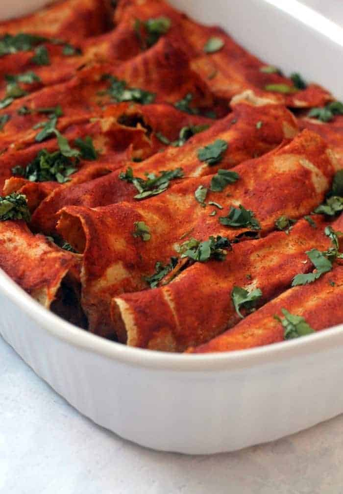 Vegan Sweet Potato Black Bean Enchiladas