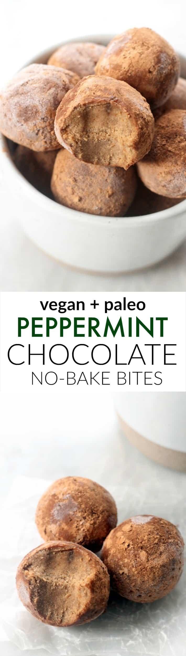 Peppermint Chocolate No-Bake Bites (Paleo, Vegan)