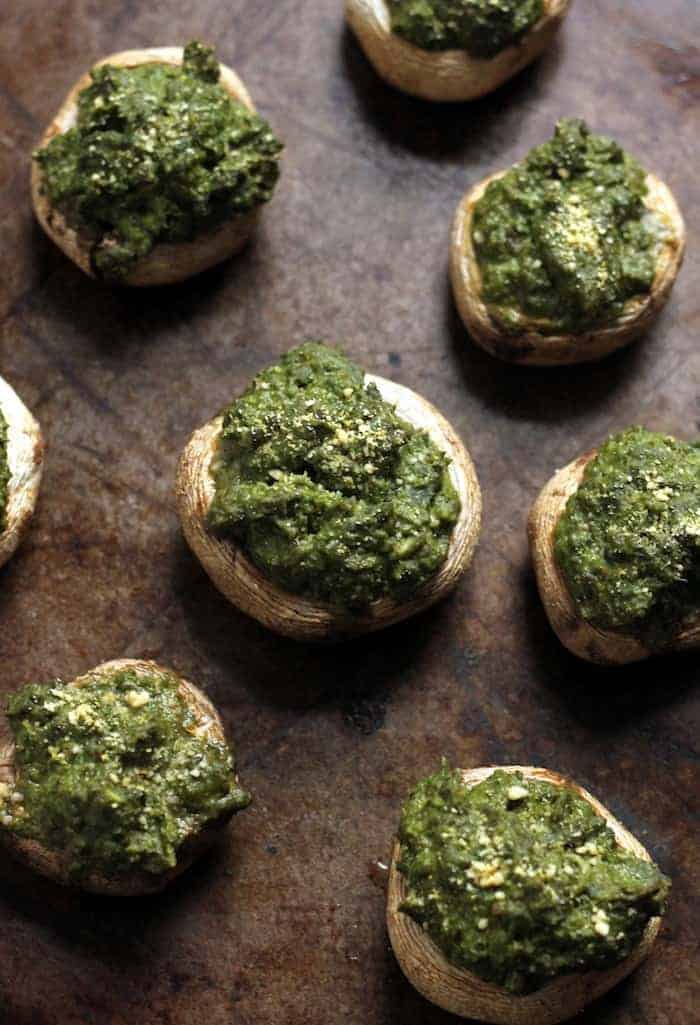Vegan Basil Hummus Stuffed Mushrooms...the perfect holiday party app!