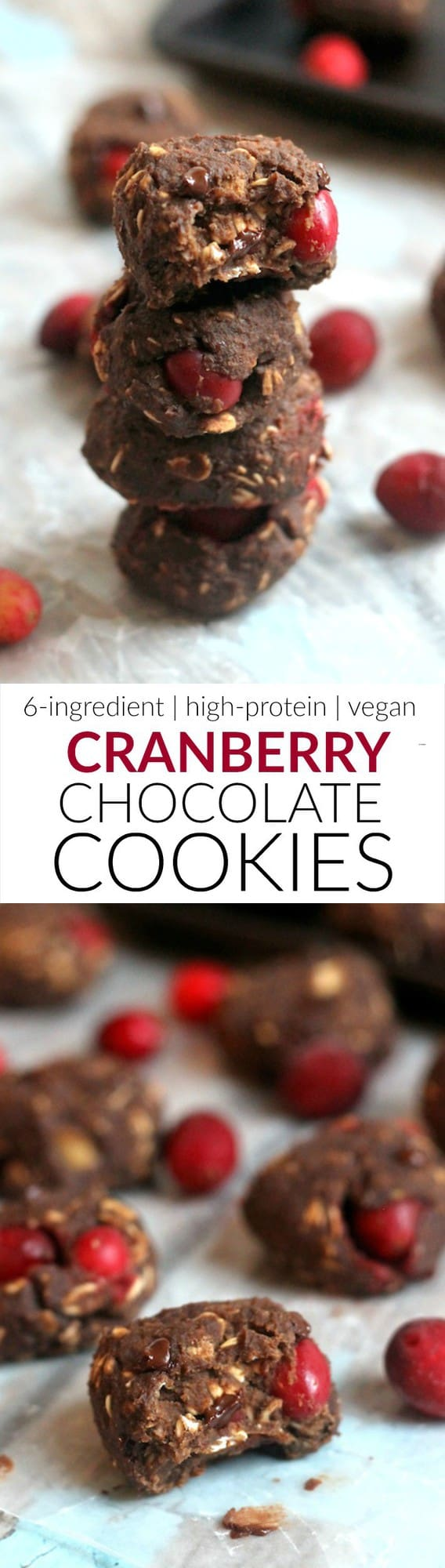 Flourless Cranberry Chocolate Protein Cookies, free of gluten, oil, and refined sugar!