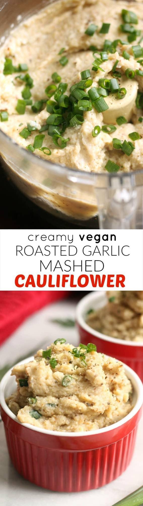 Creamy Vegan Roasted Garlic Mashed Cauliflower