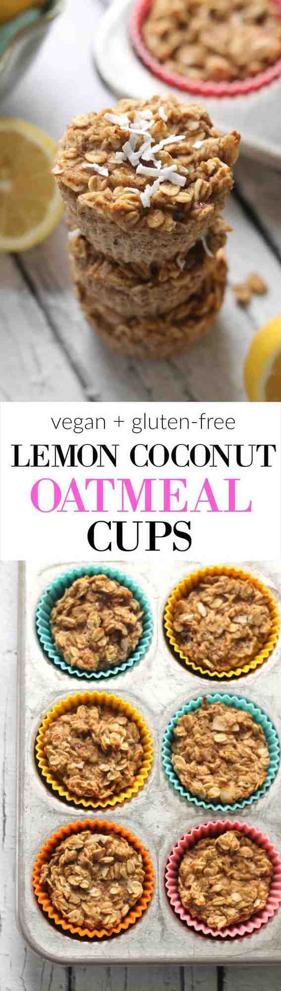 Moist and delicious Lemon Coconut Baked Oatmeal Cups with no added sugar make the perfect healthy breakfast on the go! Vegan and gluten-free.