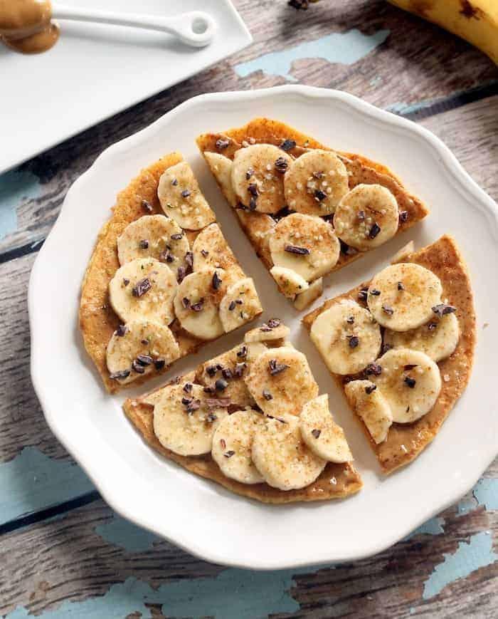 Flourless Peanut Butter Banana Breakfast Pizza (Vegan + Gluten-Free)