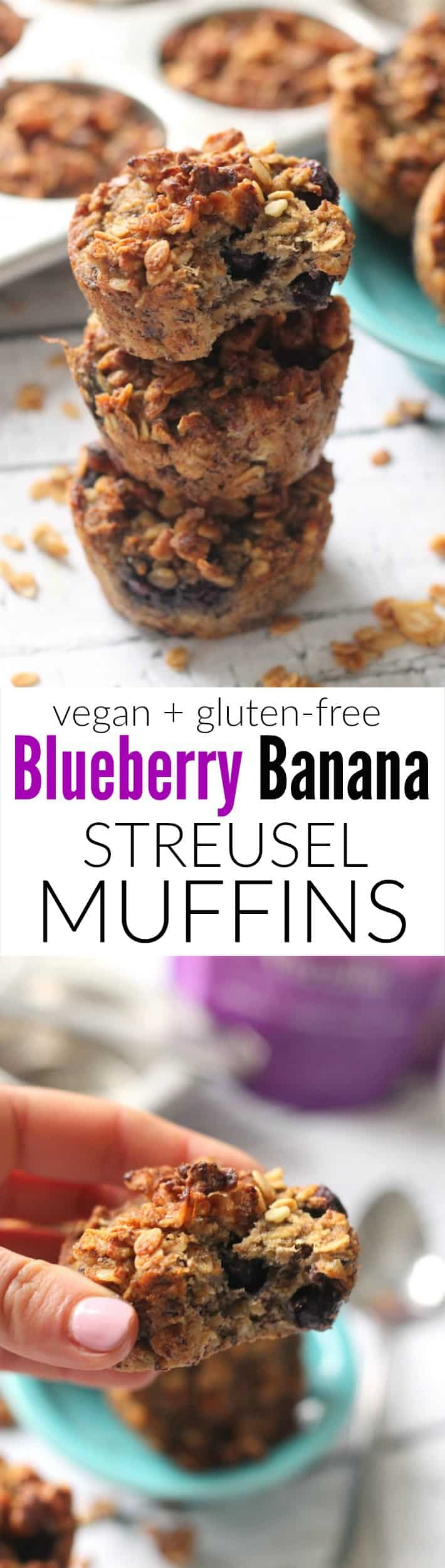 Blueberry Banana Streusel Muffins---easy, moist, oil-free, vegan, and gluten-free!