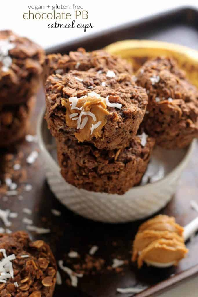 Chocolate Peanut Butter Oatmeal Cups are a super moist, healthy, and delicious on-the-go breakfast or snack with no oil or added sugar!