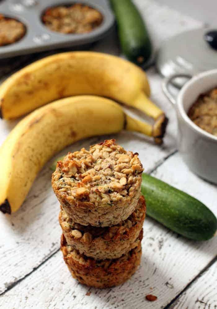 Banana Zucchini Baked Oatmeal Cups