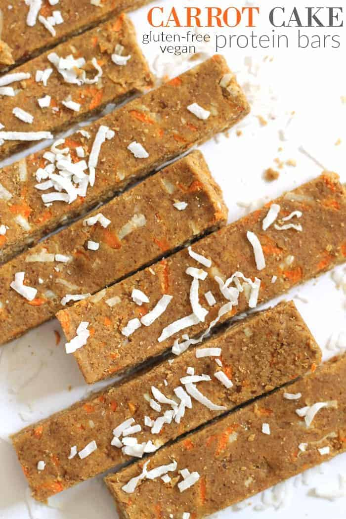 No-Bake Carrot Cake Protein Bars are free of refined sugar, oil, and flour...the perfect afternoon vegan + gluten-free snack!