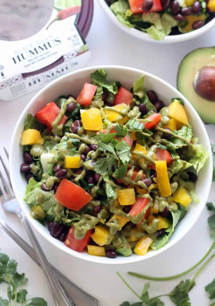 Mexican Chopped Salad with Zesty Hummus Dressing