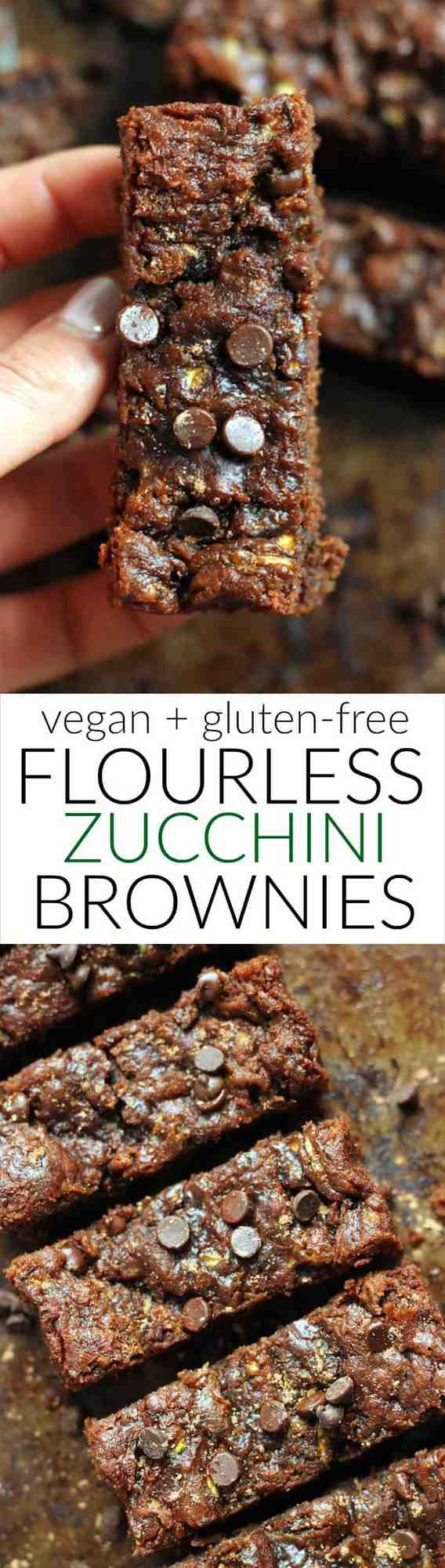 Ooey, gooey, one bowl, 7-ingredient Flourless Vegan Peanut Butter Zucchini Brownies! They