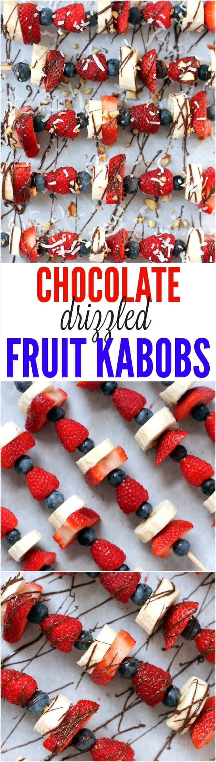 Chocolate Drizzled Fruit Kabobs are the perfect healthy party treat for kids and adults alike!