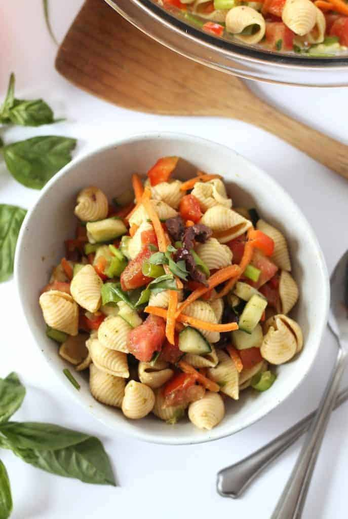 Bring this Healthy Pasta Salad to your next potluck! Vegan and easily gluten-free.
