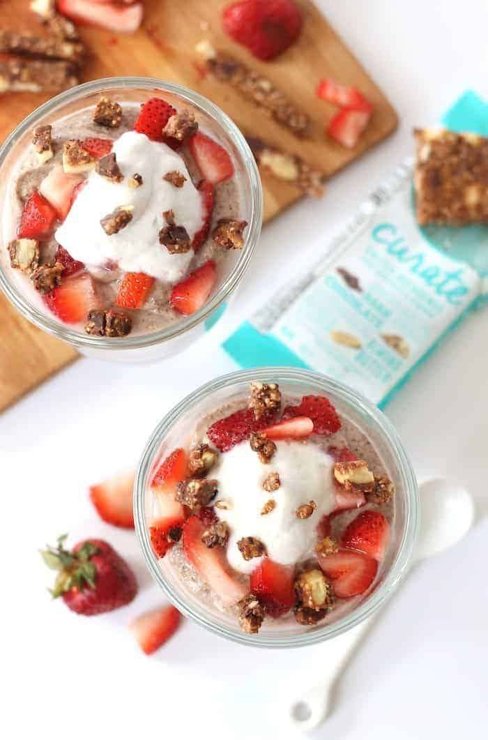 This decadent vegan Strawberries and Cream Chia Pudding is naturally sweetened and totally dairy free! Creamy, healthy, kid-friendly, and delicious!