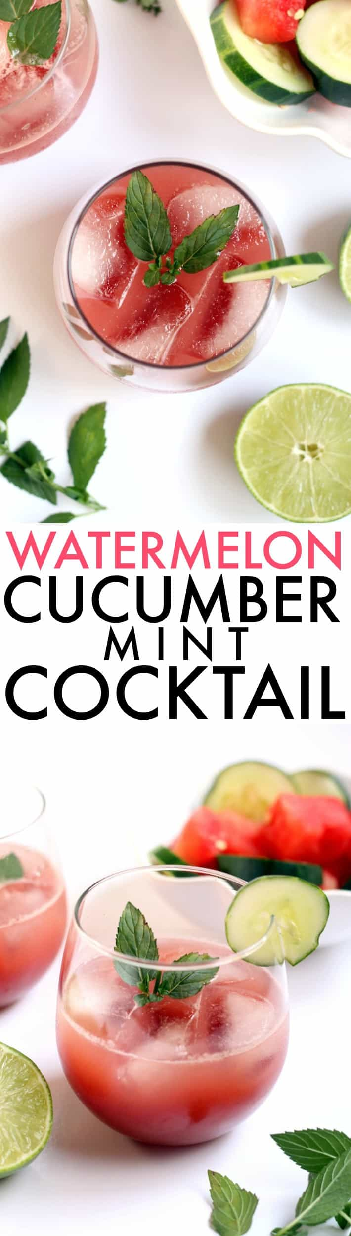 This refreshing, naturally sweetened Watermelon Cucumber Mint Cocktail  is just as delicious as it is healthy! Make a big batch for a relaxing evening with friends.