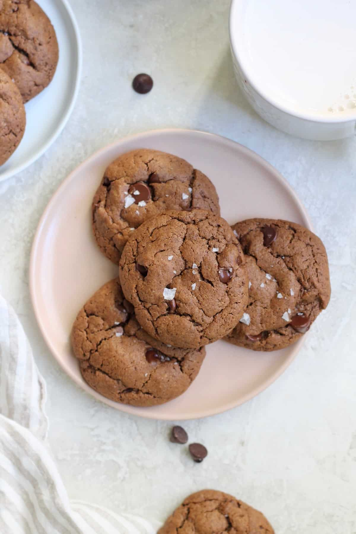 bowl of four chocolate cookies