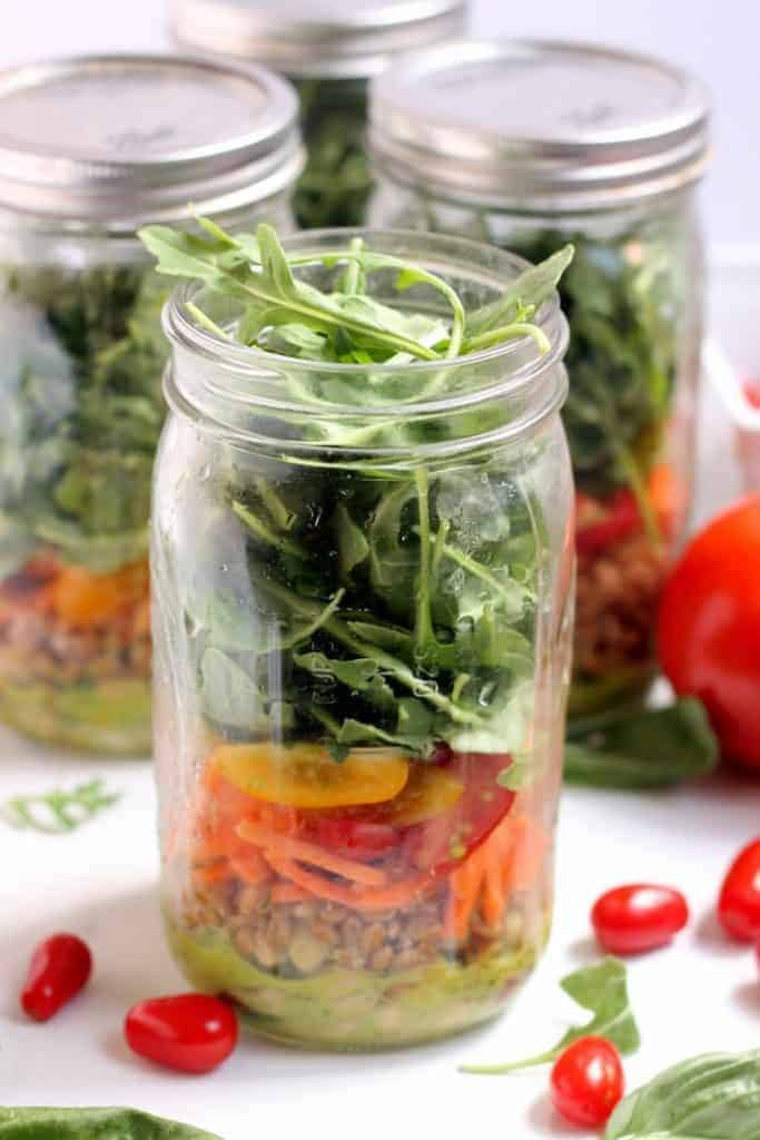 These simple White Bean, Basil, and Arugula Mason Jar Salads make the best grab-and-go healthy lunch! Vegan and gluten-free.