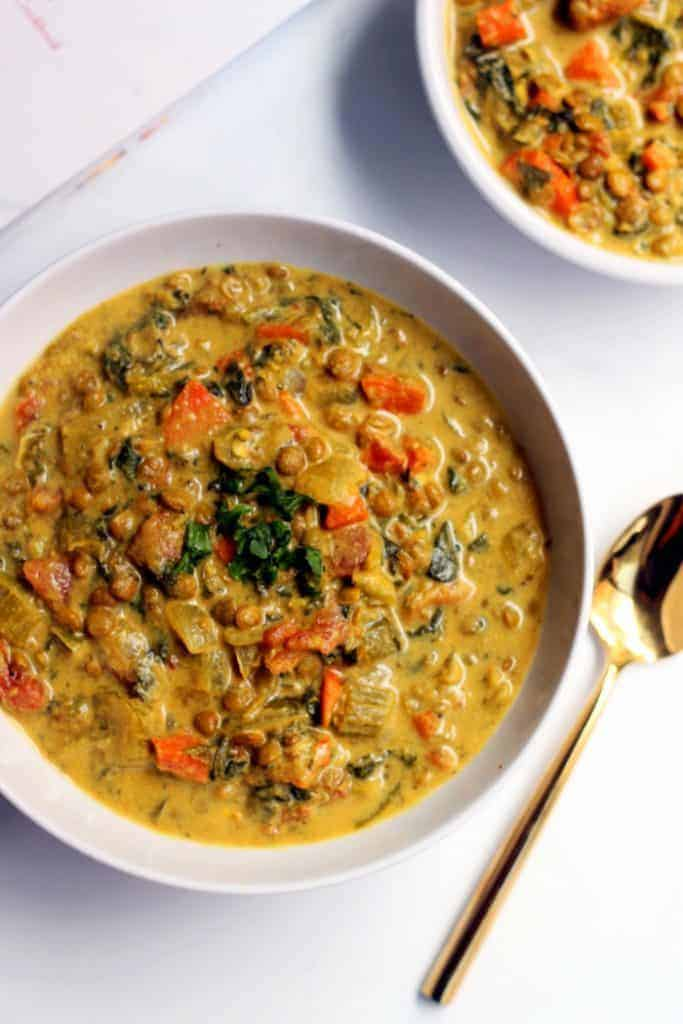 This luxurious, comforting Golden French Lentil Soup is truly a meal in a bowl! It