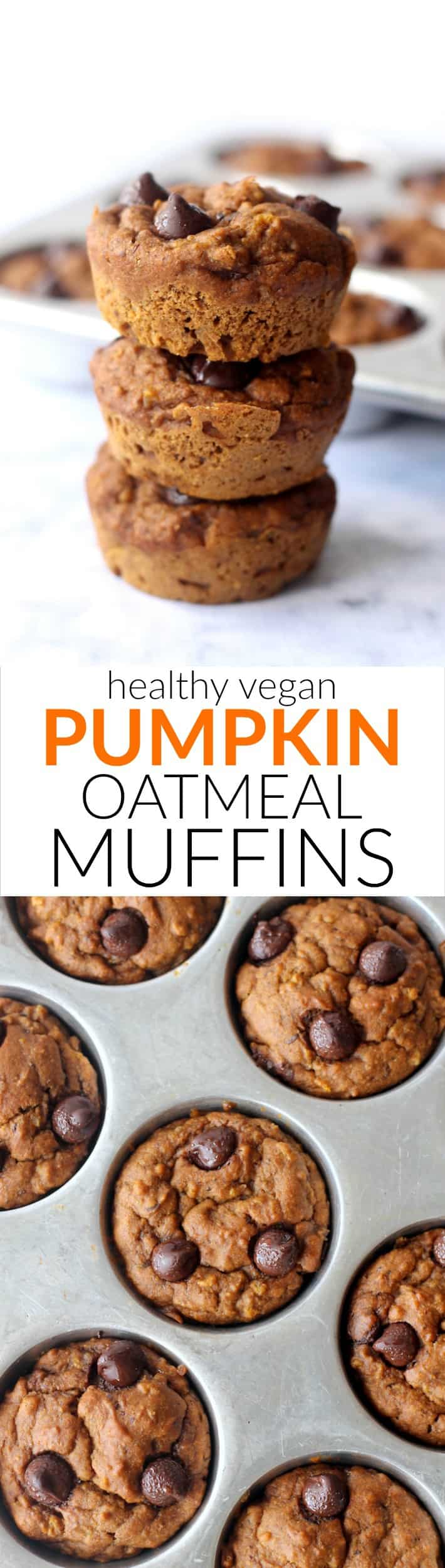 These moist and delicious Vegan Pumpkin Oatmeal Muffins are 100% whole grain and kid-approved. They make a great healthy breakfast or grab-and-go snack!