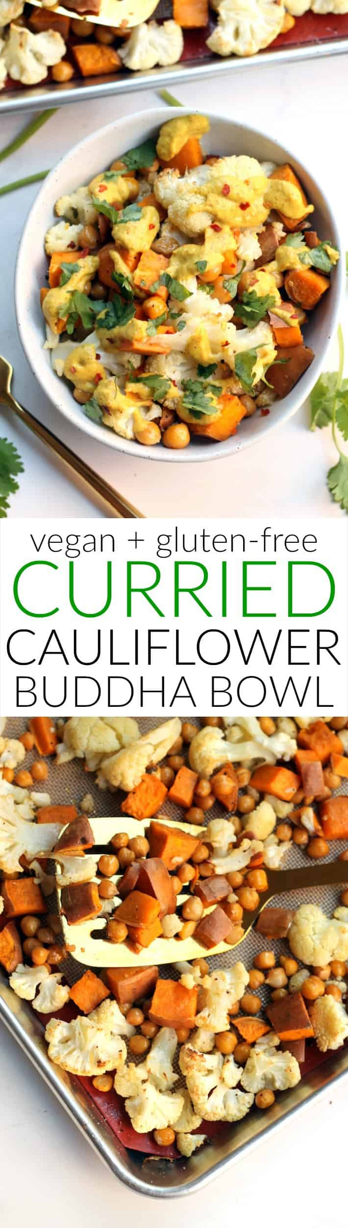 This one pan Curried Cauliflower Chickpea Buddha Bowl is an easy and delicious vegetarian meal that
