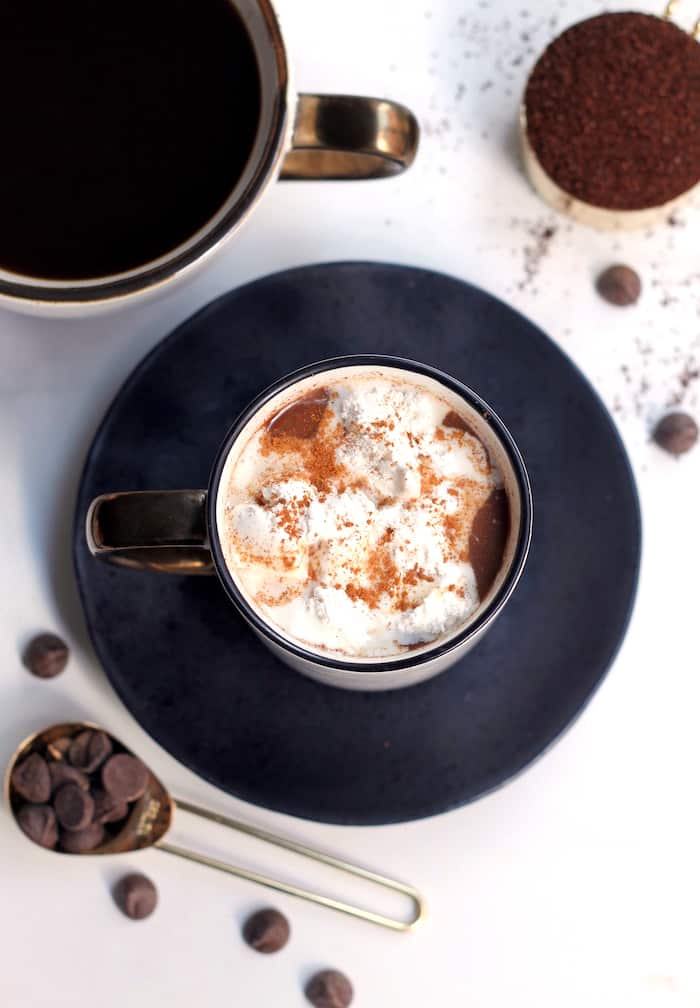 Brighten up your morning with this rich and creamy Healthy Cinnamon Roll Mocha, made with real food ingredients and only 134 calories per serving!