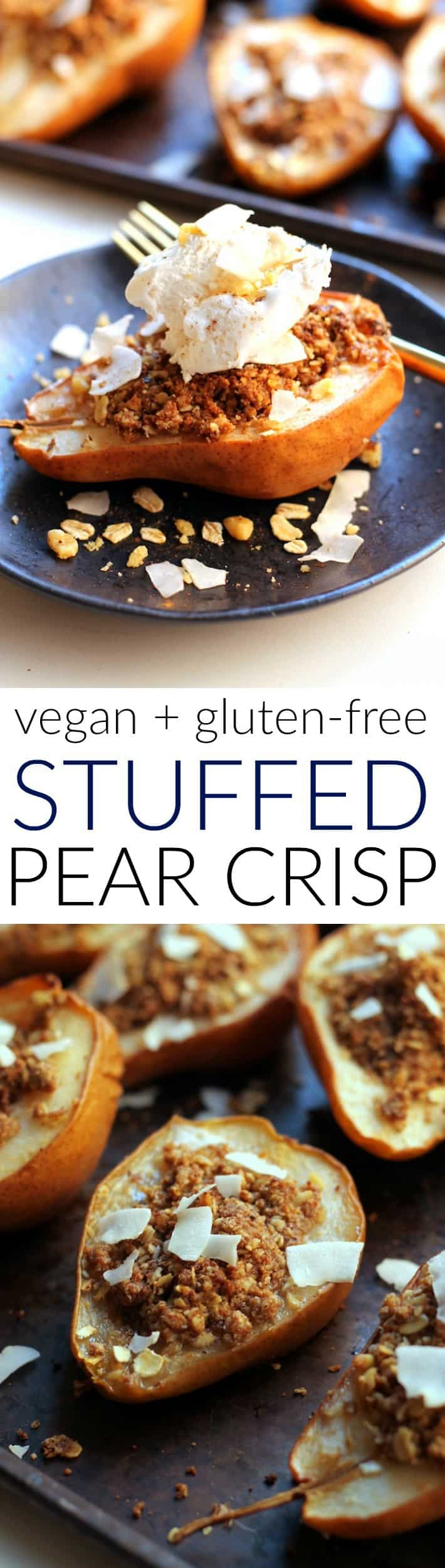 Enjoy these individual Healthy Stuffed Pear Crisps made with just 10 ingredients for the perfect holiday treat! Free of refined flour, sugar, and butter, they