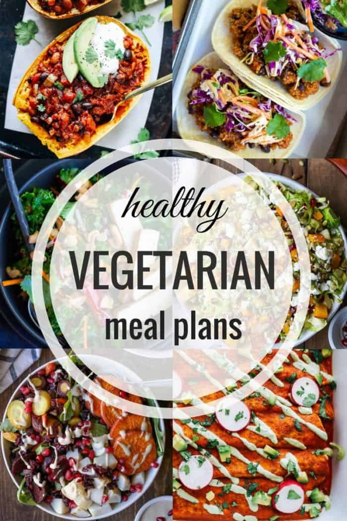 Healthy Vegetarian Meal Plans- easy and flavorful meals for every night of the week! Prep ahead tips + vegan and gluten-free substitutions!