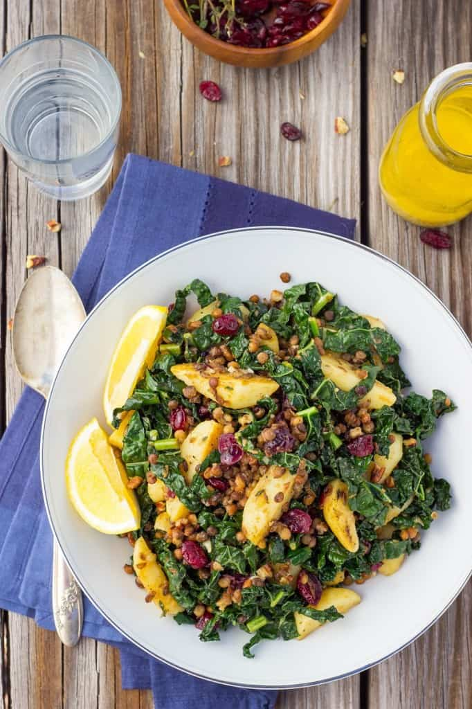 Warm Lentil and Kale Salad with Lemon Dijon Dressing from She Likes Food